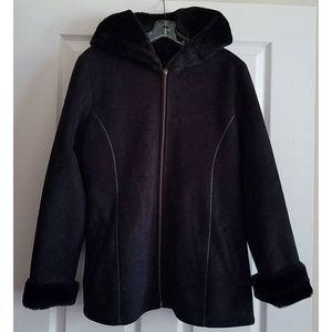 MARVIN RICHARDS Hooded Coat Faux Suede & Fur